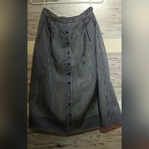 Women's blue & White Striped A-line Pleated Skirt